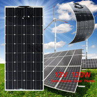 120W 12V Solar Panel Charger Flexible Monocrystalline Solar Cells Module Kit 12V Car Battery Charger For Outdoor Camping