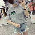 Verão Carta Remendo Bordado Tops Feminino Coreano Estudantes Harajuku T-shirt Da Forma Das Mulheres Soltas Curto-de mangas compridas T camisa de Algodão