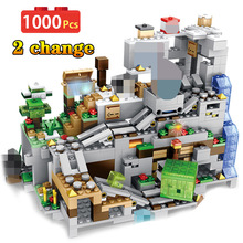 My World Minecraft Cave Building Blocks Compatible LegoINGLYS Minecraft Aminal Alex Action Figures Brick Toys For Children Boys
