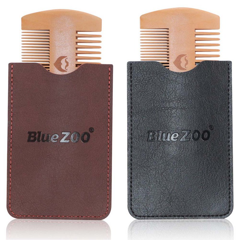 Double Side Pear Wood Beard Comb + PU Leather Bag  Antistatic Beard Care Portable Hair Brush Comb For Men