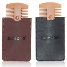 Double Side Pear Wood Beard Comb + PU Leather Bag Antistatic Beard Care Portable Hair Brush Comb For Men(China)