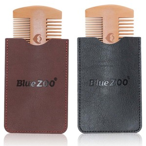 Image 1 - Double Side Pear Wood Beard Comb + PU Leather Bag  Antistatic Beard Care Portable Hair Brush Comb For Men