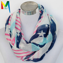 2015 new style women s fashion stars Plaid Tartan Check printed voile Circle Loop Cowl Infinity