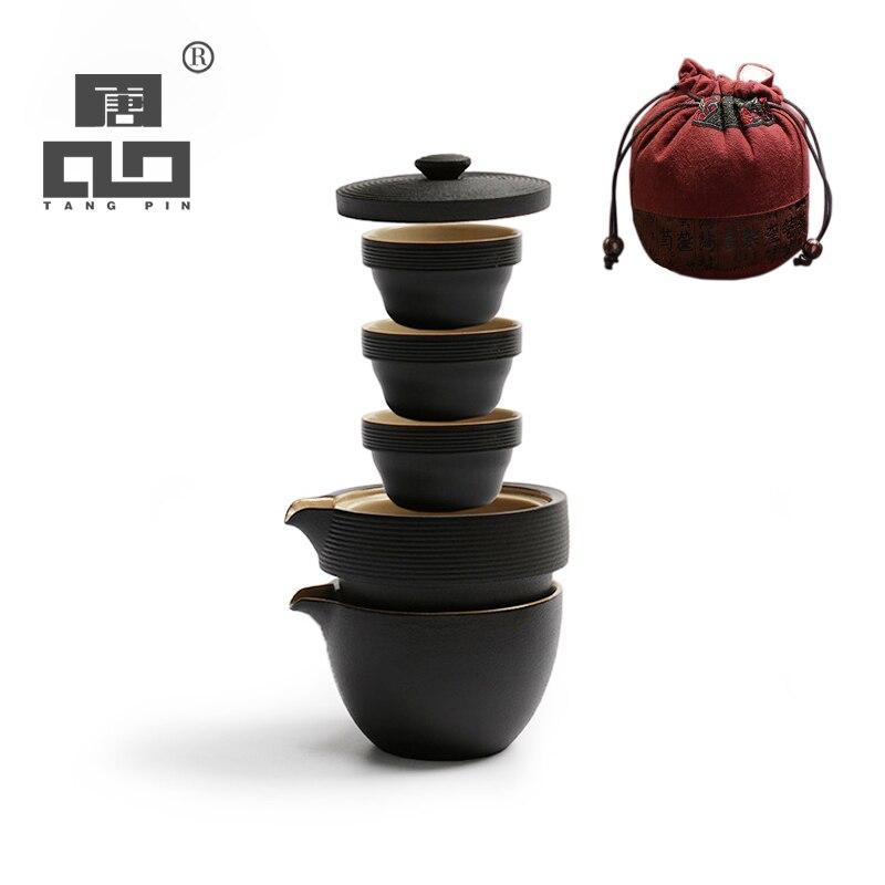TANGPIN japonês bule chaleira de cerâmica xícaras de chá gaiwan escritório jogo de chá de viagem portátil
