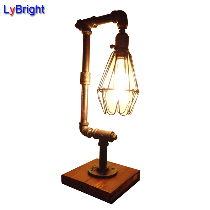 Industrial Coffee Table Lamp: Loft Edison Industrial Pipe Retro Personality Creative