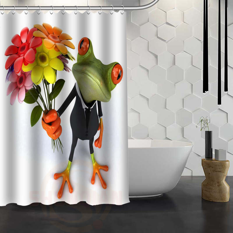 Custom 3d Funny Frog Shower Curtain Waterproof Fabric Shower Curtain For  Bathroom WJY1.17(