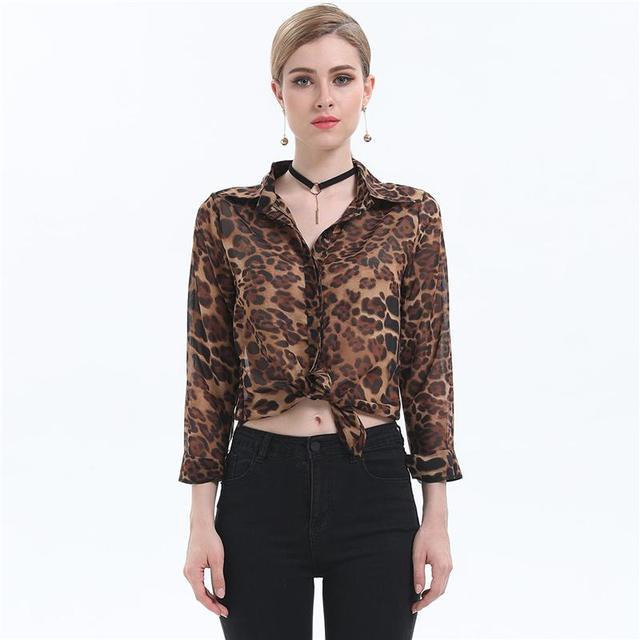 f25d9d8e18 Modelos primavera Verão Leopard Chiffon Tops Mulheres Camisas Casuais Blusa Camisa  Feminina Chiffon Blusa Blusas Femininas