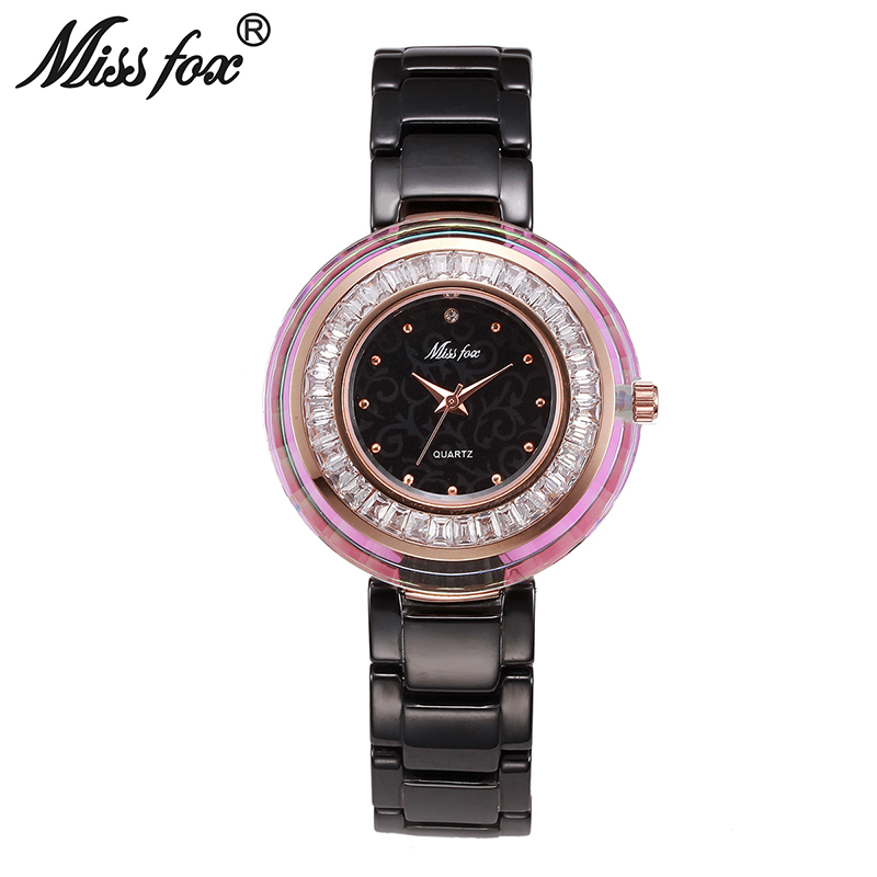 Miss Fox Cool Fashion Brand Rhinestone Women Dress Watch Luxury Ceramic Band Female Creative Quartz Wristwatch Montre Femme Box цена