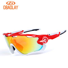 Obaolay 2017 Polarized Cycling Glasses UV400 Protect Bicycle Men Women Sunglasses Outdoor Sports Running Cycling Eyewear 5 Lens