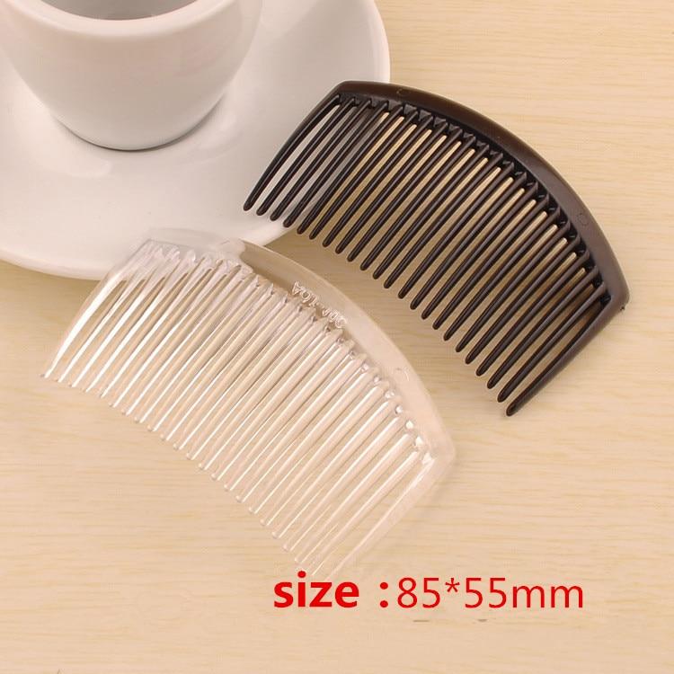 Image 3 - (50 pcs/lot) 85*55mm plastic resin hair combs base black /transparent brushed vintage hair combs base setting fc079comb dogcomb frenchcomb binding -