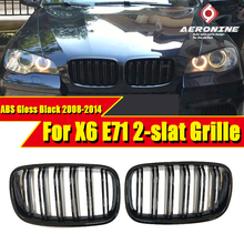 Fits For BMW E71 X6 Kidney Grill Grille ABS Glossy Black 2 slat Twin Bar M Style X6M look grills With MC 2008-2014
