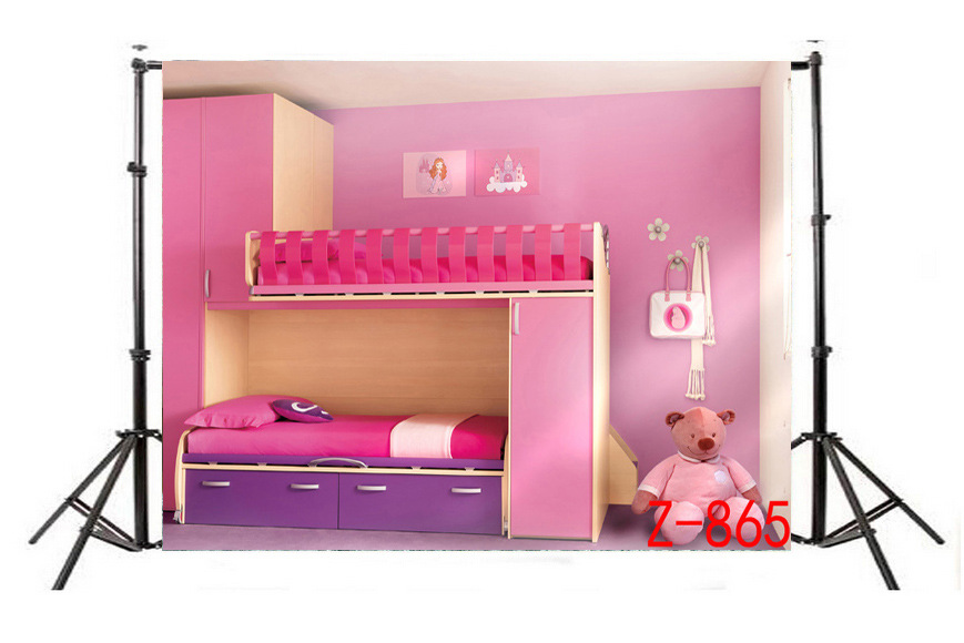 Pink Girl's Room Bed Bear Photography Backdrops Children Room Decoration Photo Studio Background