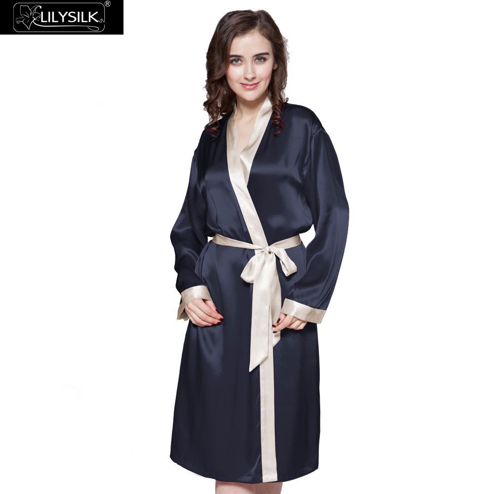 LilySilk Robe Kimono Nightwear Dressing Gowns Women Pure Silk 100 Female 22 momme Contrast Color Navy
