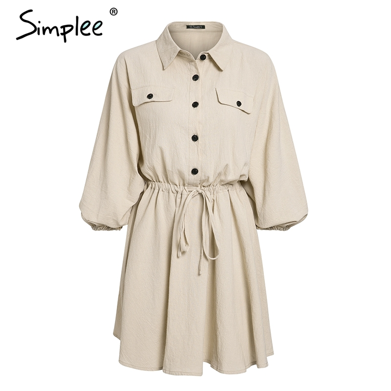 Simplee Elegant linen short shirt dress women Long sleeve cotton dress buttons female vestidos Vintage summer dresses casual 12