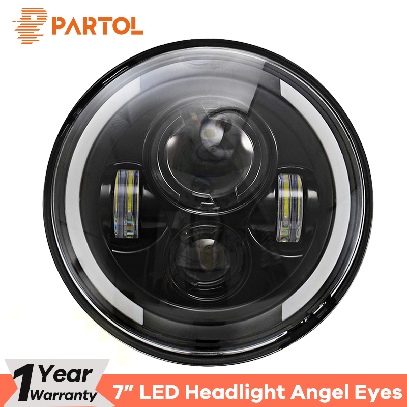 Partol 7 60W LED Headlights H4 H13 Hi Lo Beam Headlamp Projector Angel Eyes DRL Light Motorcycle for Jeep CJ/Wrangler JK/Harley цена
