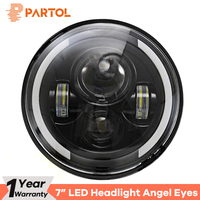 Partol 7 60W LED Headlights H4 H13 Hi Lo Beam Headlamp Projector Angel Eyes DRL Light Motorcycle for Jeep CJ/Wrangler JK/Harley