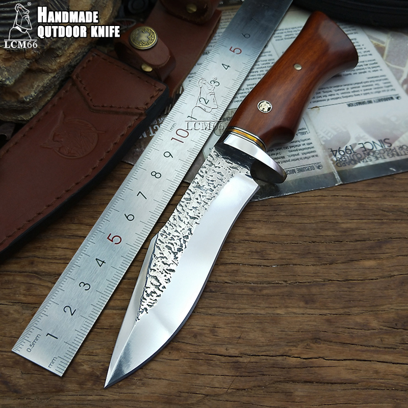LCM66 Forge hand made knives jacht rechte mes tactische knifeFixed MessenPrecious handleCamping Rescue Mes gereedschap sharp