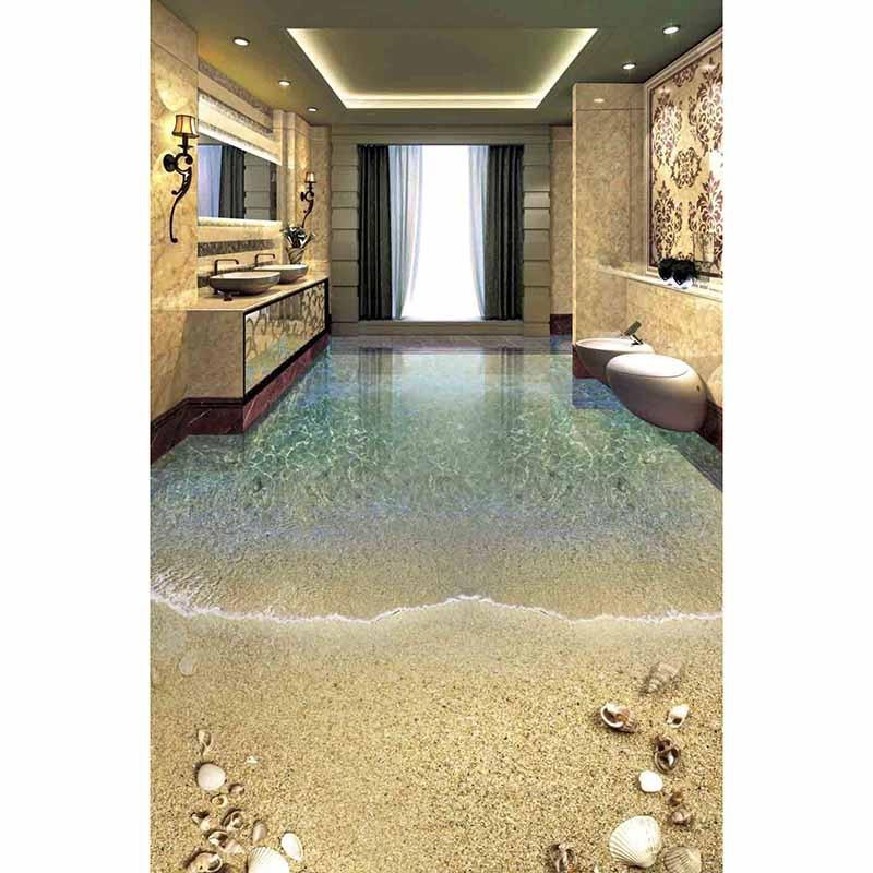 3D Floor Sticker DIY Wall Stickers Custom Photo PVC Murals Bathroom Bedding Room Self-adhesive Waterproof Beach Wallpaper #6 football sportsman diy pvc sticker adhesive wallpaper