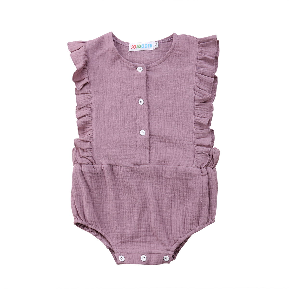 Cotton Newborn Baby Girls Toddle Infant Ruffle Sleeveless Bodyusit Jumpsuit Sunsuit Summer Casual Clothes Baby Girl 0-24M