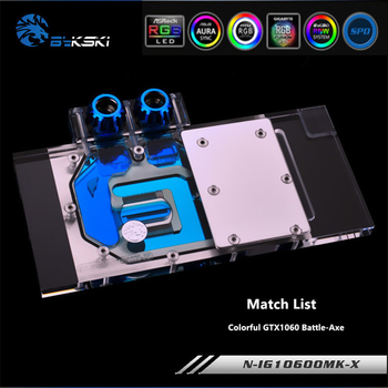 Bykski N-IG1060OMK-X Full Coverage GPU Water Block For VGA Colorful GTX1060 Battle-Axe Graphics Card Cooler