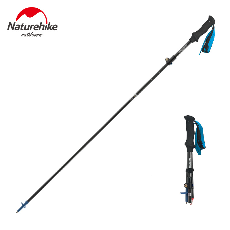 1 pcs Naturehike trail running pole lightweight folding Collapsible hiking trekking walking stick 110cm, 120cm, 130cm, 4-section 4 section telescopic mountaineering pole stick with 9 led lights compass 4 x ag13 110cm length