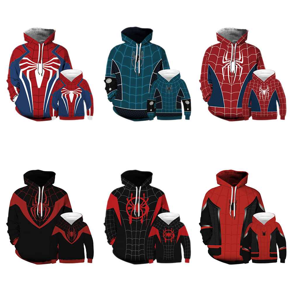 Family Matching Outfits Hoodies Dad Mom Kids Sweatshirts Boy  Marvel Avengers Cosplay Spider-Man Sweatshirt Girl Teen Men's Tops
