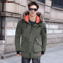 GustOmerD 2017 Winter Mens Jacket And Coat Top Quality Thicken Cotton Long Style Overcoat Parka Men Fur Collar Winter Jacket Men(China)