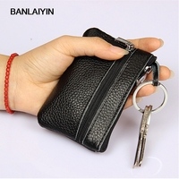 Pop Nice Vogue Black Leather Car Key Holder Women Multifunction Zipper Coin Purse Card Wallet Keys Hanging Fashion