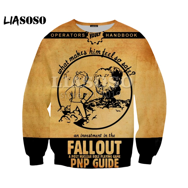 LIASOSO 2018 Summer New 3D Color Printing Fallout 4 Game Character Top Clothes, Men's And Women's Sweatshirts Clothing  SE1081