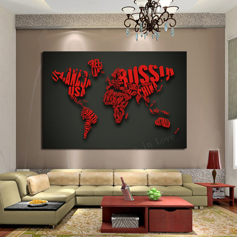 1 Piece Picture Art Red Map Modern Home Decoration Painting O n Canvas Large HD Print Living Room,Canvs painting - Whisper of store