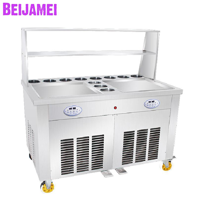 BEIJAMEI Ice Cream Rolls Maker Fry Frozen Yogurt Making Machine 110v 220v Electric Thailand Fried Ice Machine