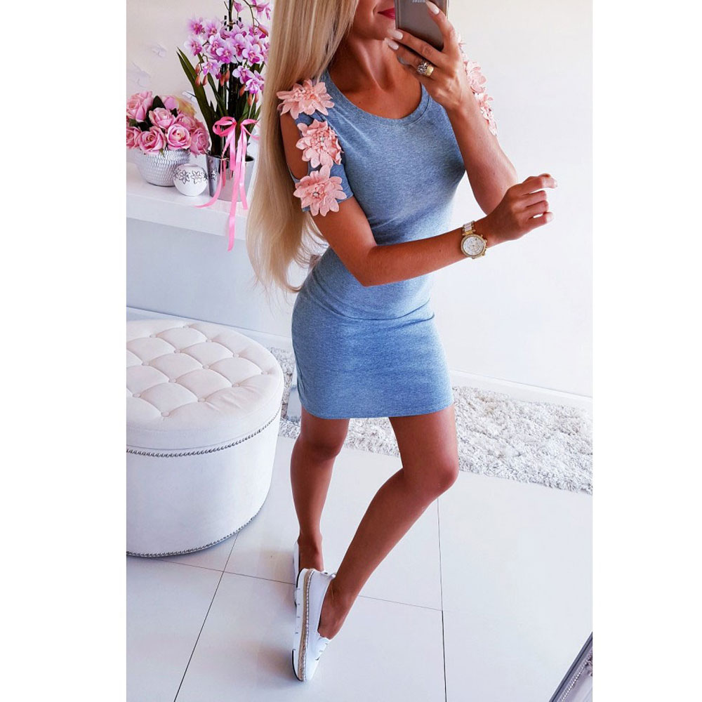 Summer Dress 2019 Women Sexy Slim Casual Mini Dresses Ladies Solid Short Sleeve Bodycon Dress Party Clubwear Mini