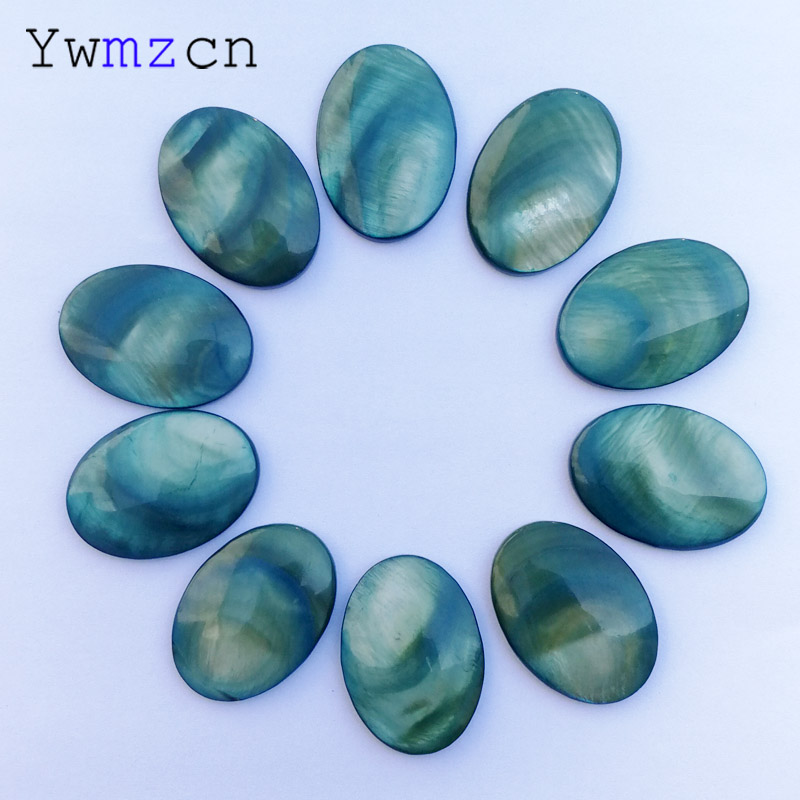 fashion Natural Stone shell 25x18MM Beads for jewelry making Oval cab cabochon no hole Ring accessories 10Pcs/lot Free shipping
