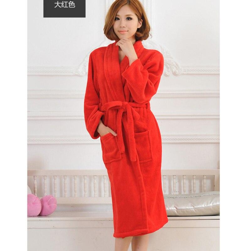 Wholesale 8 Color Bath Robe Female Coral Fleece Nightgown Spa Bathrobe Woman Night Wear Robe Flannel Kimono Sleep Gowns Peignoir