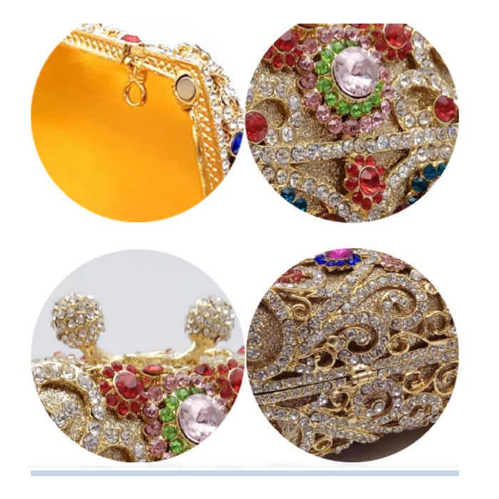 Женский вечерний клатч с золотыми кристаллами для выпускного вечера со стразами, свадебные клатчи, кошелек, женские вечерние мини-вечерний клатч