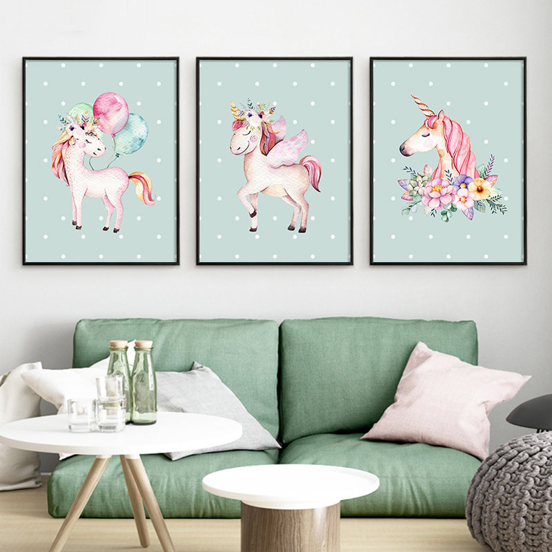 Nordic Unicorn Wall Art Child Kids Poster Prints Nersery Animal Canvas Painting Pictures Baby Living Room Home Decoration