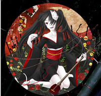New VOCALOID Cos VFamily Cosplay Hatsune Miku Anime Halloween Black Kimono Rakshasa Yukata Full Set 3in1(Kimono+Belt+Bow knot)