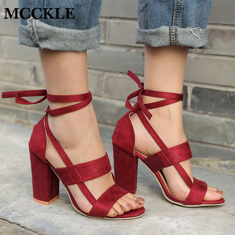 MCCKLE Women Sandals Ankle Strap High Heels Ladies Summer Shoes Elastic Band Ankle Cross Strap Female Square Heels For Woman frilly single band ankle strap heels mauve