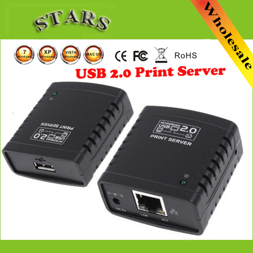 US $10450 0  USB2 0 LPR print server hub adapter Ethernet LAN network  printer for Networking & storage,Wholesale Free Shipping +Drop Shipping on