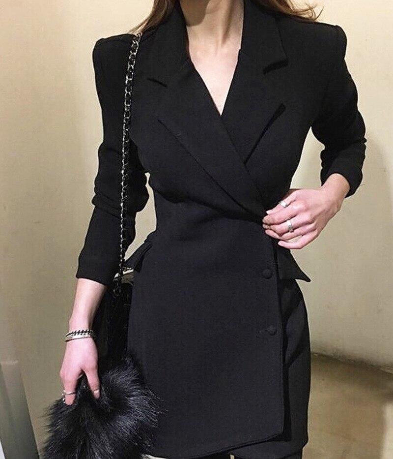 Женский офисный Блейзер, черный двубортный блейзер