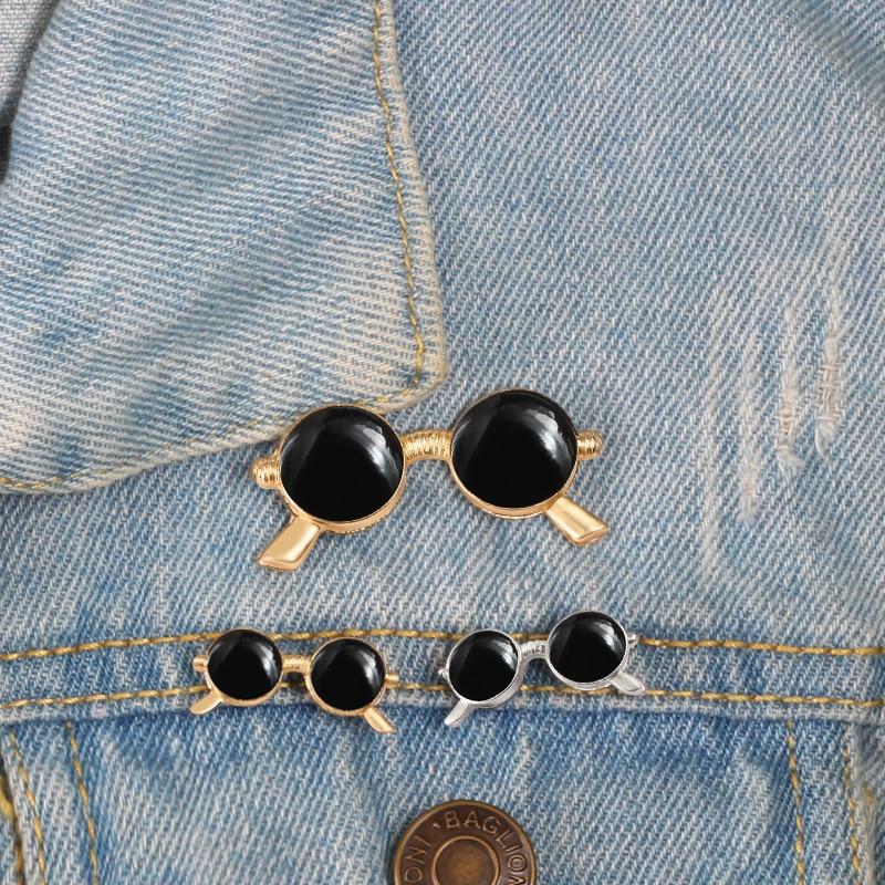 Retro Cute Black Sunglasses Brooch Lapel Pin Suit Shirt
