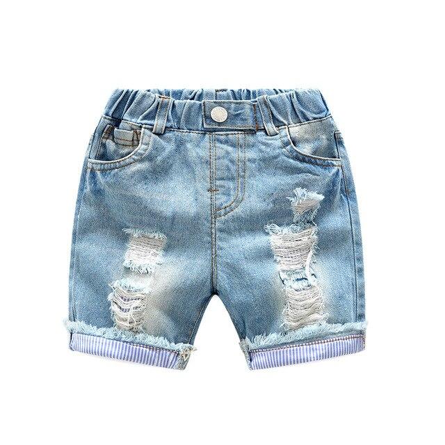bede1c76c8adde Peuter Baby Boy Jeans Shorts Mode Ripped Gat Denim Broek voor Jongens  Kinderen Broek Elastische Taille