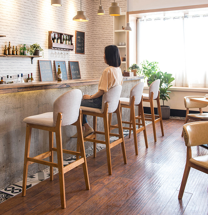 Solid wood bar chair modern minimalist bar high stool back bar stool front cash register high stool home bar chair in Bar Chairs from Furniture