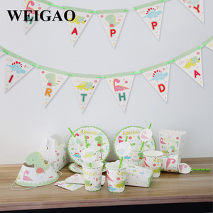 Image 5 - WEIGAO Dinosaur Birthday Party Disposable Tableware Sets Kids Animal Birthday Party Decoration Paper Banner/Cup/Plate Supplies