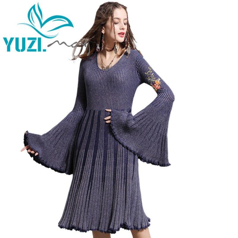 Winter Dress 2018 Yuzi may Boho New Knitting Vestidos O Neck Flare Sleeve Flower Embroidery Swing
