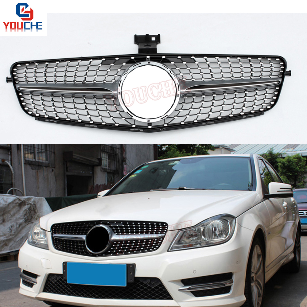 W204 Diamonds Grille Mesh for <font><b>Mercedes</b></font> C Class W204 2007 - 2014 C180 C220 C250 <font><b>C300</b></font> C350 Front Bumper Grill image