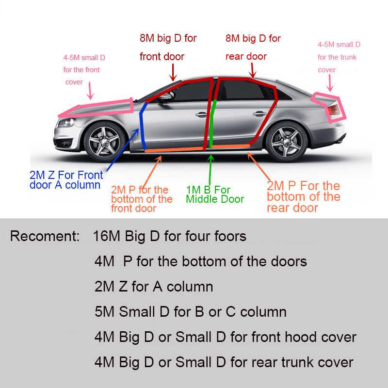 Voiture-style 2 mètres B Z P D Type voiture joint en caoutchouc isolation phonique bande d'étanchéité garniture de bord isolation phonique voiture porte bande d'étanchéité