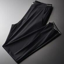 Minglu קיץ דק Mens מכנסיים יוקרה אלסטי בד מקרית Mens מכנסיים בתוספת גודל 3XL 4XL גובה איכות Slim Fit Man מכנסיים