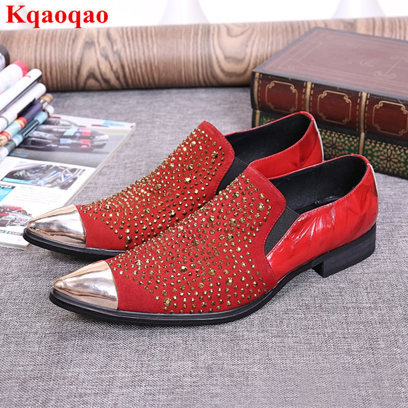 Spring Autumn Leather Men Shoes Pointed Toe Gold Crystal Embellished Slip On Hommes Chaussures Heel Fashion Brand Business Shoes spring newest flat shoes 2017 pointed toe crystal embellished woman shoes slip on casual shoes gold rhinestones loafers