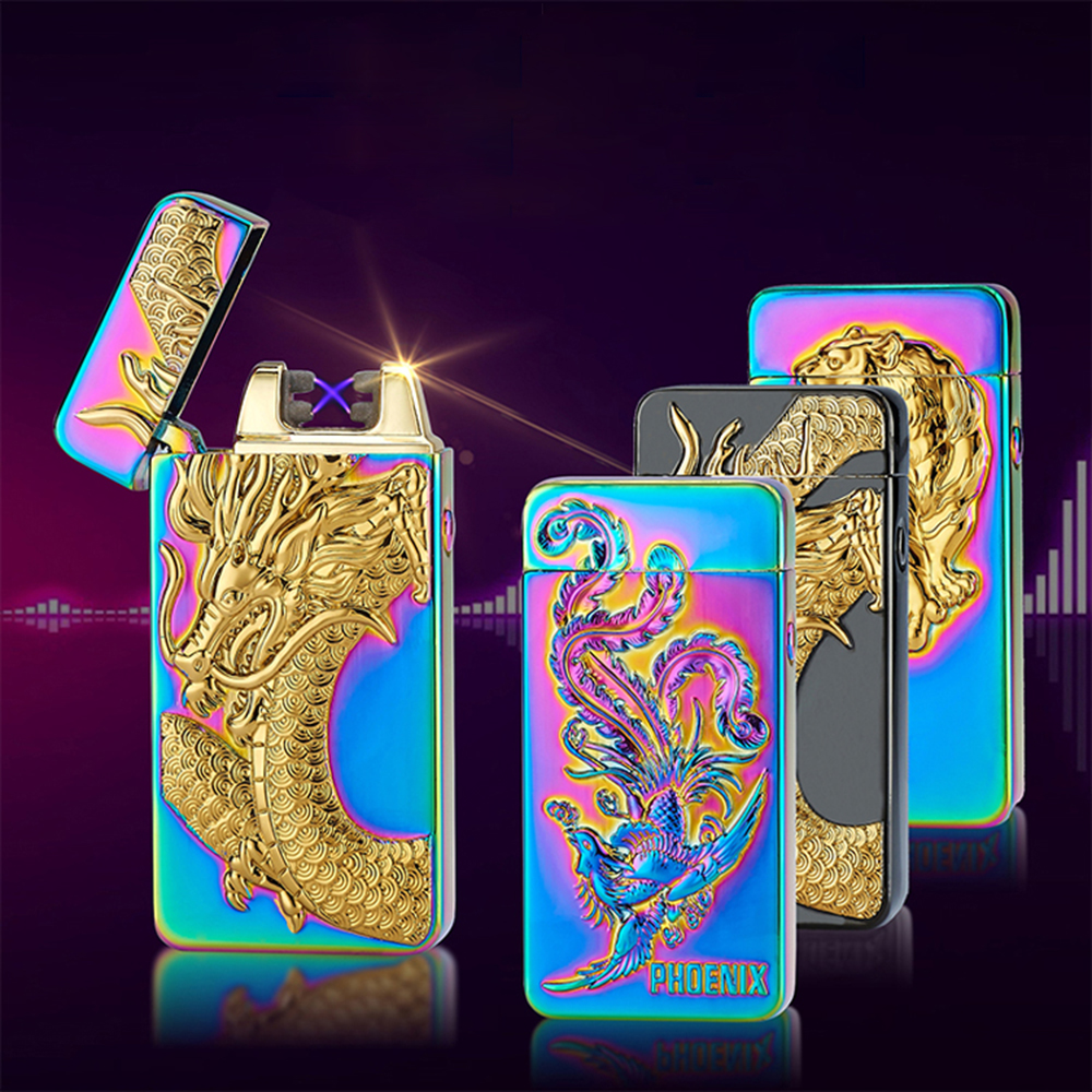 Classic Inovation Double arc Lighter Windproof Electronic USB Recharge Lighter Cigarette Smoking Electric Lighter 9 Patterns
